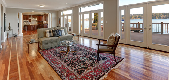 Red and navy blue patterned area rug with hardwood floor and view of water